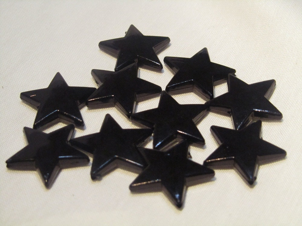 22mm acrylic stars, black