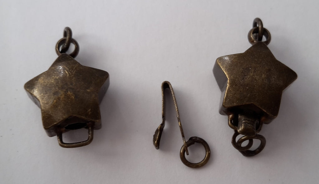 Antique Bronze Star Box Clasps