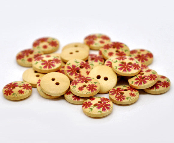 15mm flower pattern wooden buttons.