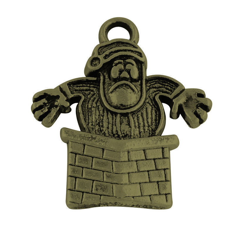 Antique Bronze 'Santa Stuck in Chimney' Charm
