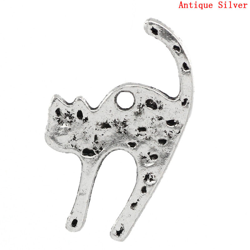 Antique silver cat charms. 26mm x 16mm.