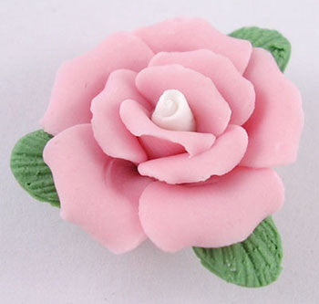 23mm handmade china/porcelain rose,  pink, sold per 5 flowers