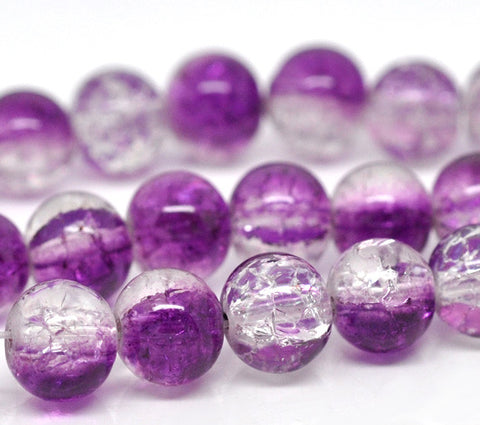 8mm purple/clear crackle beads.