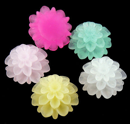 15mm resin cabochons (no hole) frosted flowers