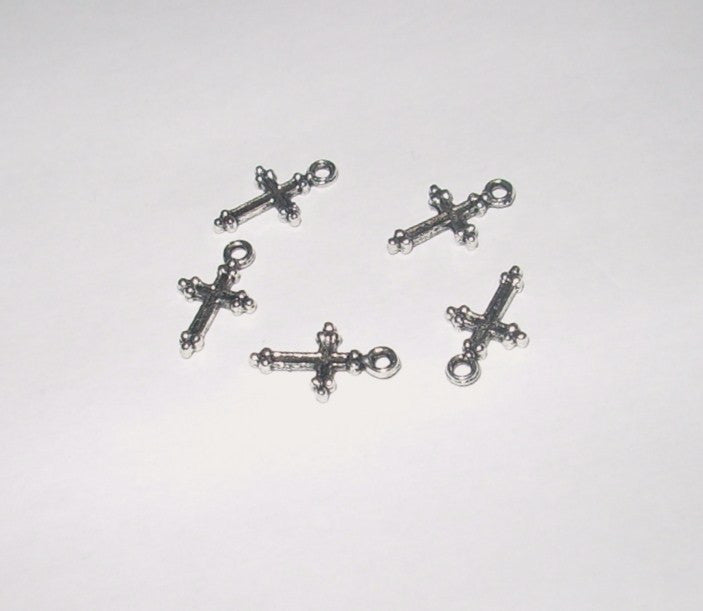 Tibetan Silver Grooved Cross Charms
