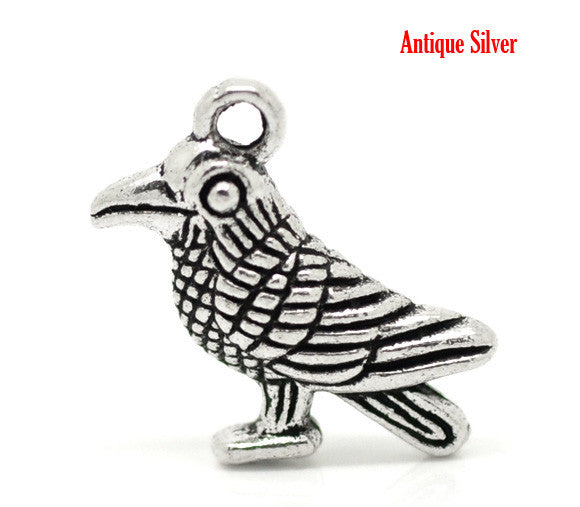 Antique Silver Crow/Bird Charms.