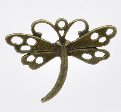 Antique bronze dragonfly pendants/charms.