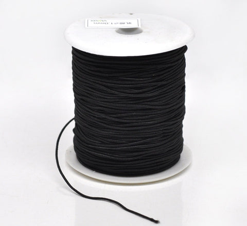 Black cotton covered elastic, 1mm