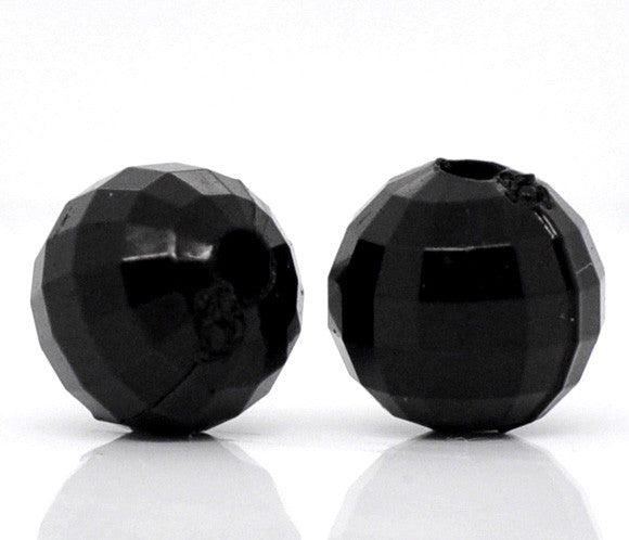 Black acrylic faceted round beads, 8mm.