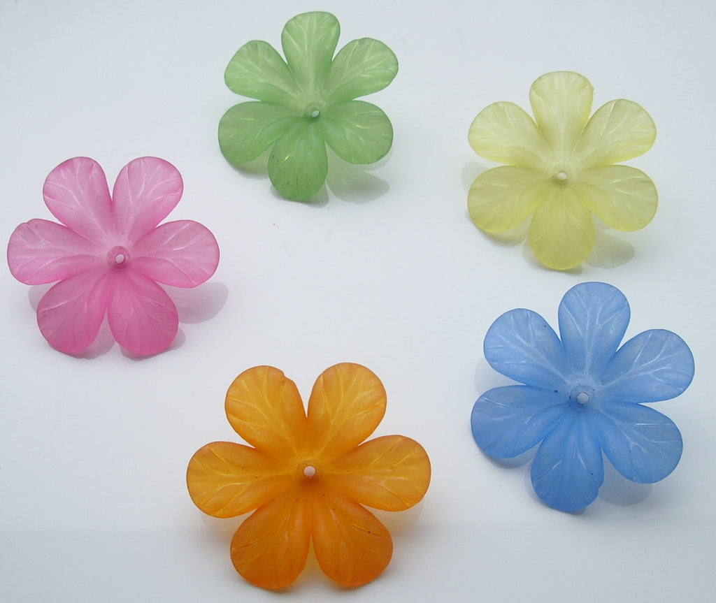 Lucite flowers, 32mm, various colours.