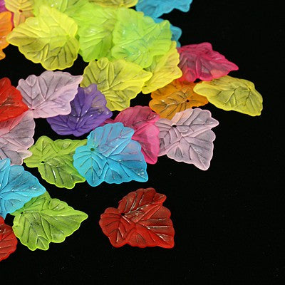 Frosted acrylic leaves, mixed colours.