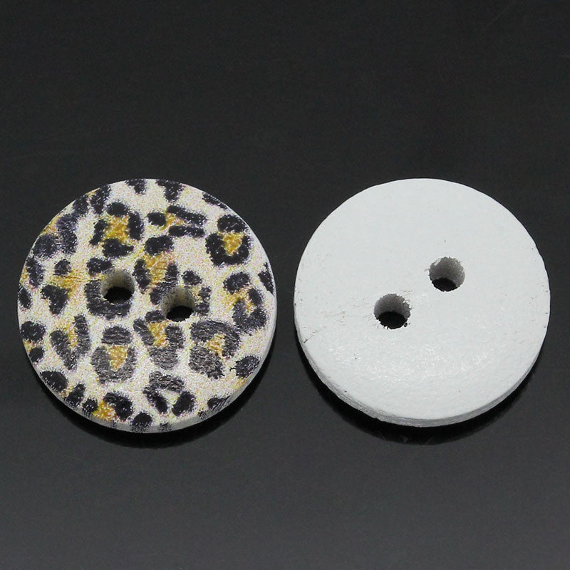 15mm leopard print wooden buttons.