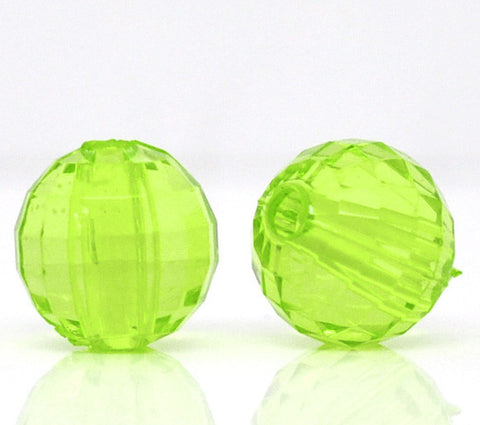8mm faceted lime green acrylic beads.