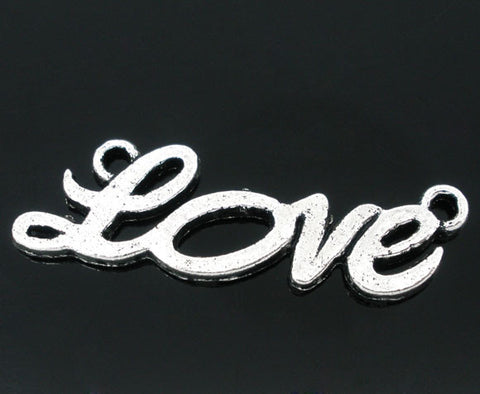 Silver tone, love charms/pendants.