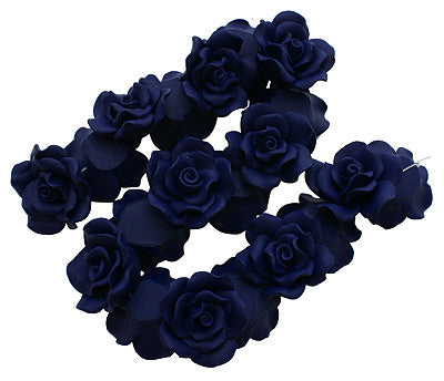 30mm Polymer clay roses, Navy Blue