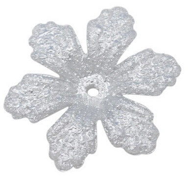 26mm silver coated acrylic flower, matte finish