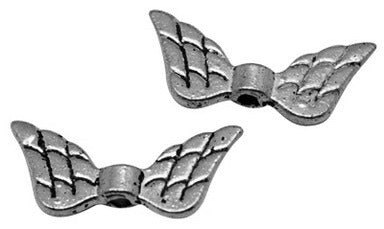9 x 19mm wing charms, silver colour