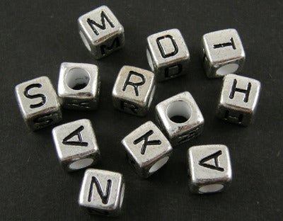 6mm Acrylic Silver coloured alphabet cubes