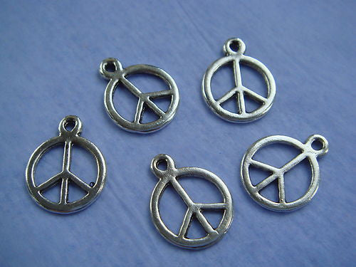 Silvertone peace sign charms. 17mm.