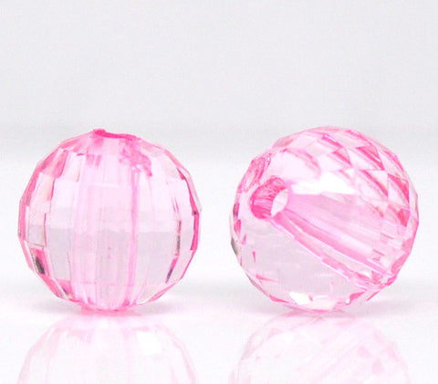 8mm faceted pink acrylic beads.