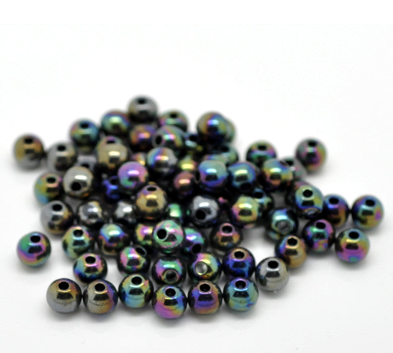6mm dark blue AB acrylic beads.
