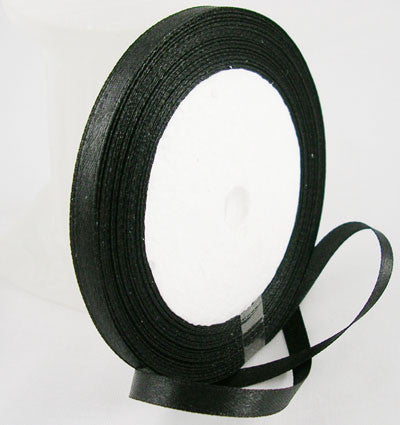 6mm satin ribbon, black