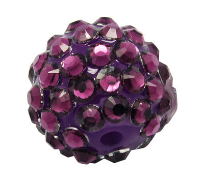 16mm resin rhinestone beads, purple