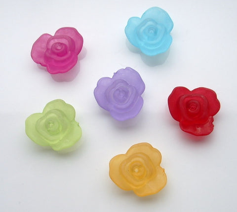 22mm frosted roses. Assorted colours