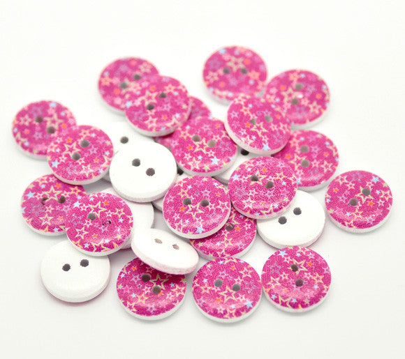 15mm pink star pattern wooden buttons.