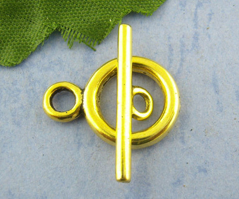 Antique gold smooth toggle clasps