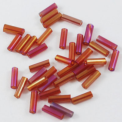 6mm glass bugle beads, AB Salmon