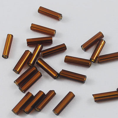 6mm glass bugle beads, brown