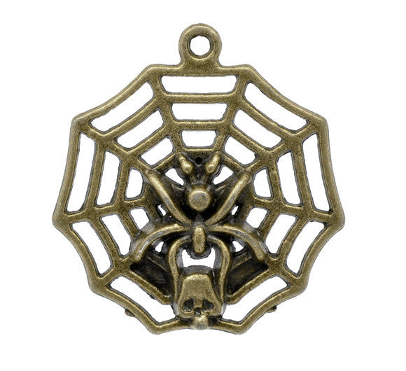 30 x 32mm Spider web pendant, antique bronze