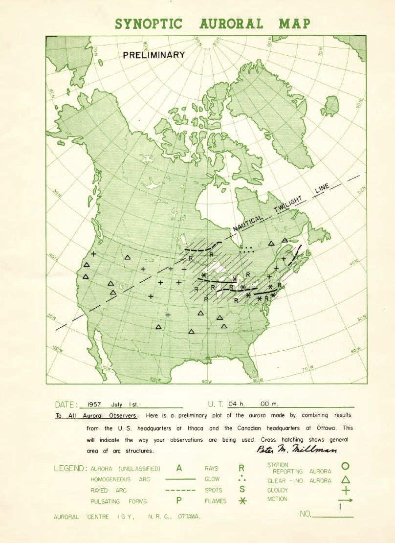 map of north america combining aurora reports to show larger patterns