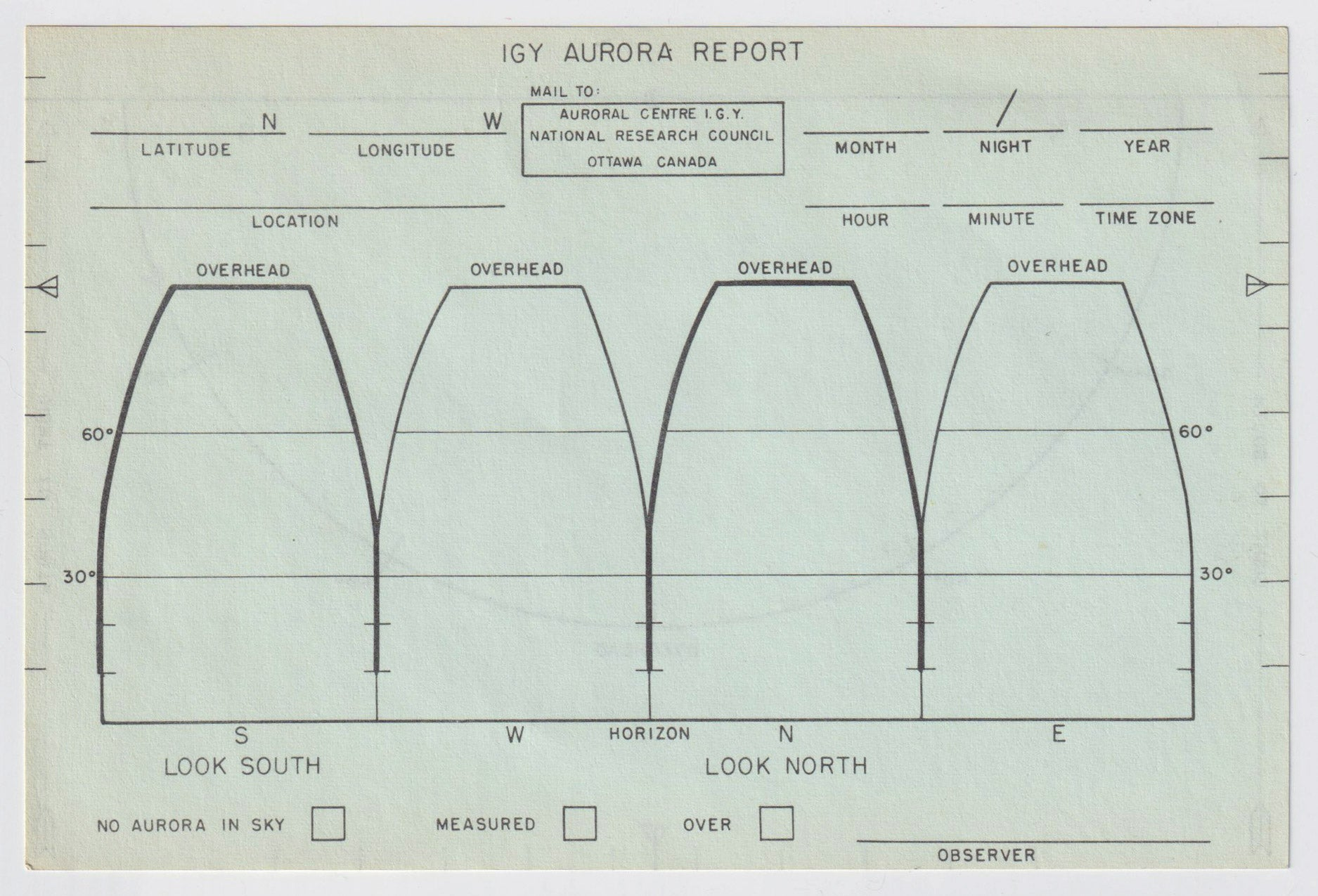 Aurora reporting form scan, front