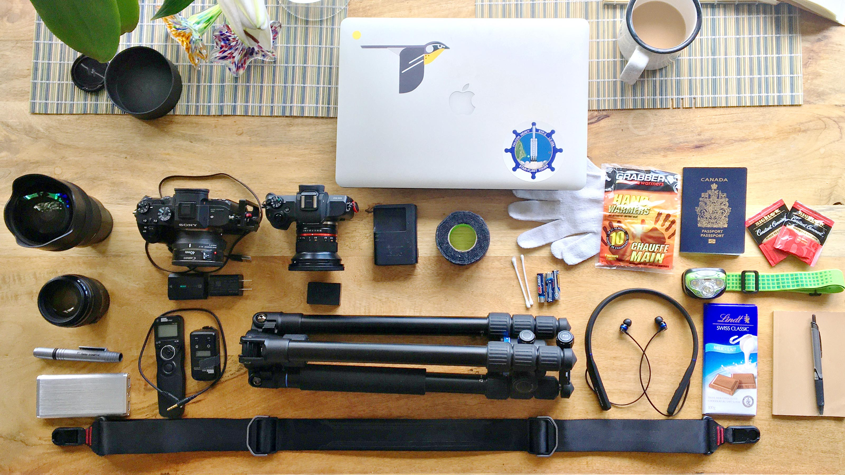 Photo gear laid out on a table