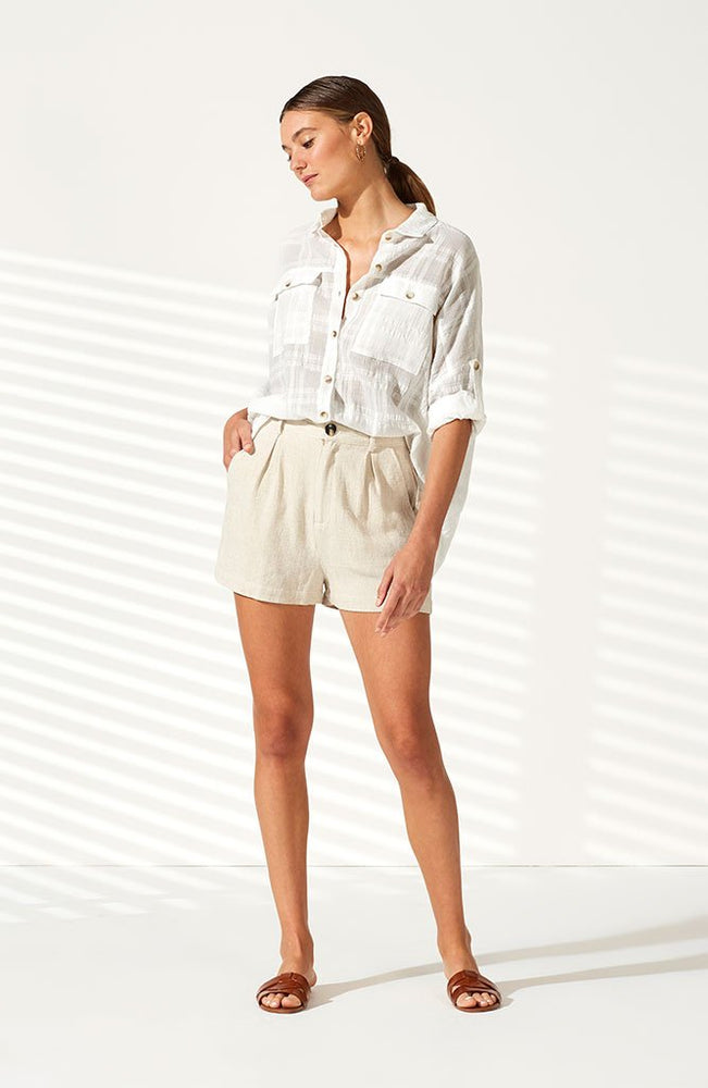 Dunes Waisted Shorts - Natural Marle