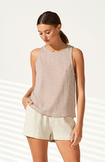 Adrift Stripe Tank - Tan/White