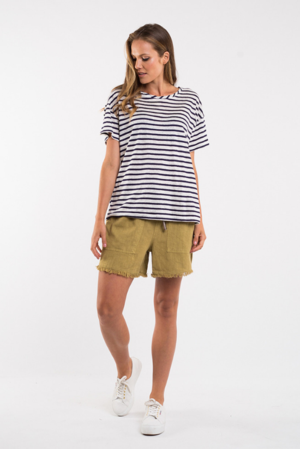 Cove Stripe Tee - Navy & White
