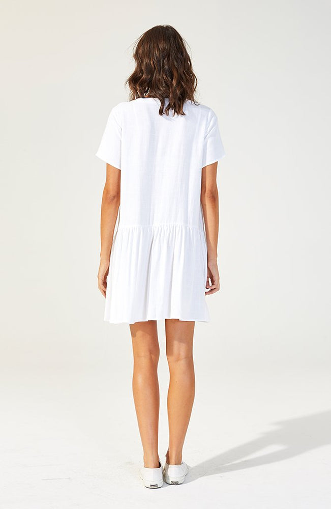 Inlet Linen Shirt Dress - White
