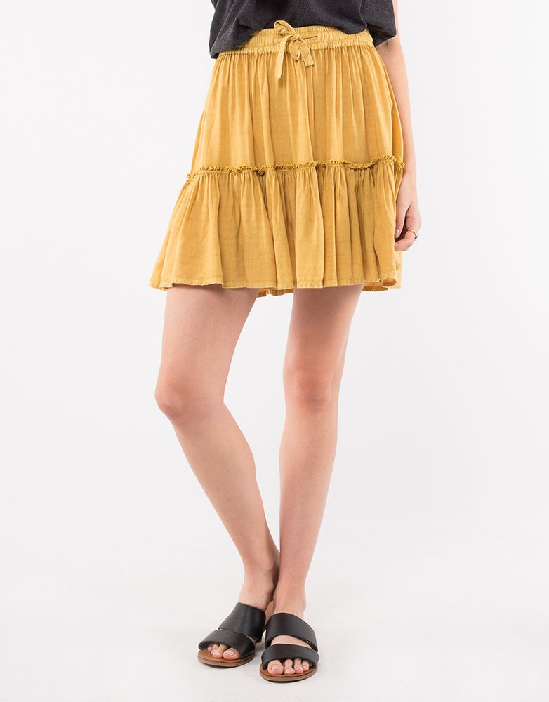 Supple Washed Skirt - Yellow Safron