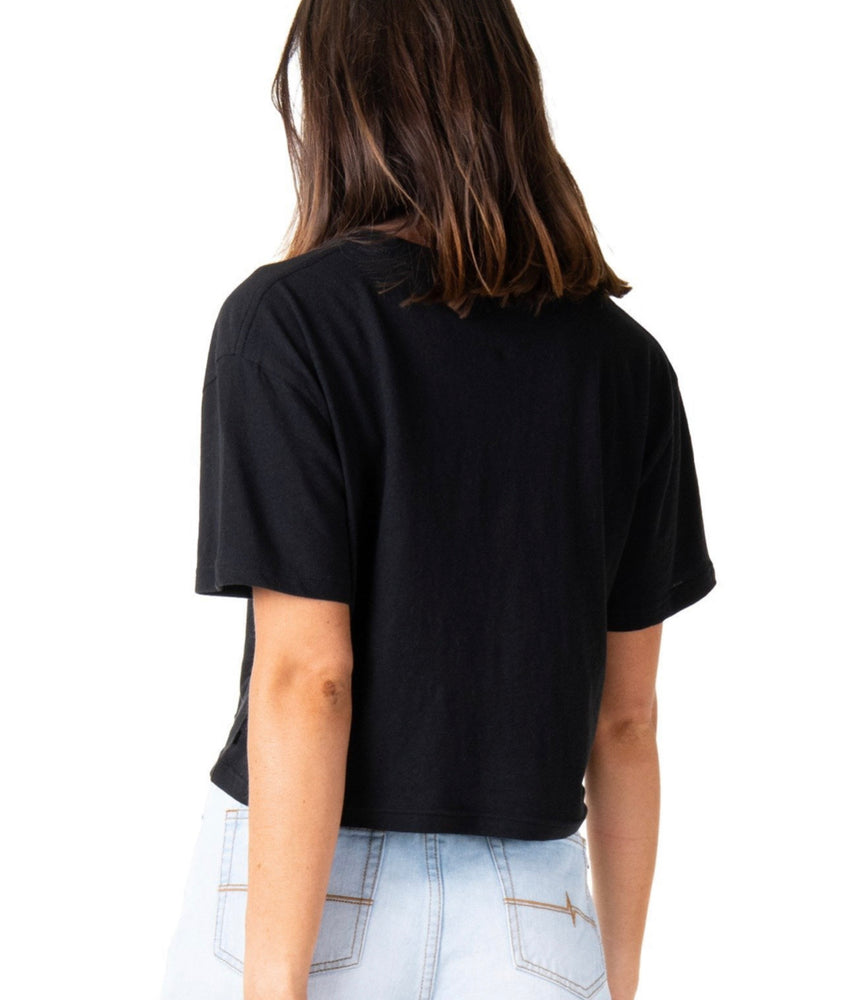 Rusty Essentials Crop Short Sleeve Tee - Black