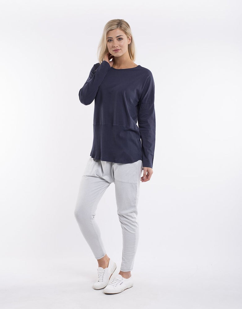 Elm Fundamental Long Sleeve Rib Tee - Navy