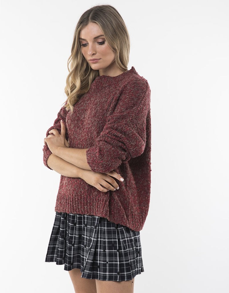 Assorted Knit Crew - Burgundy