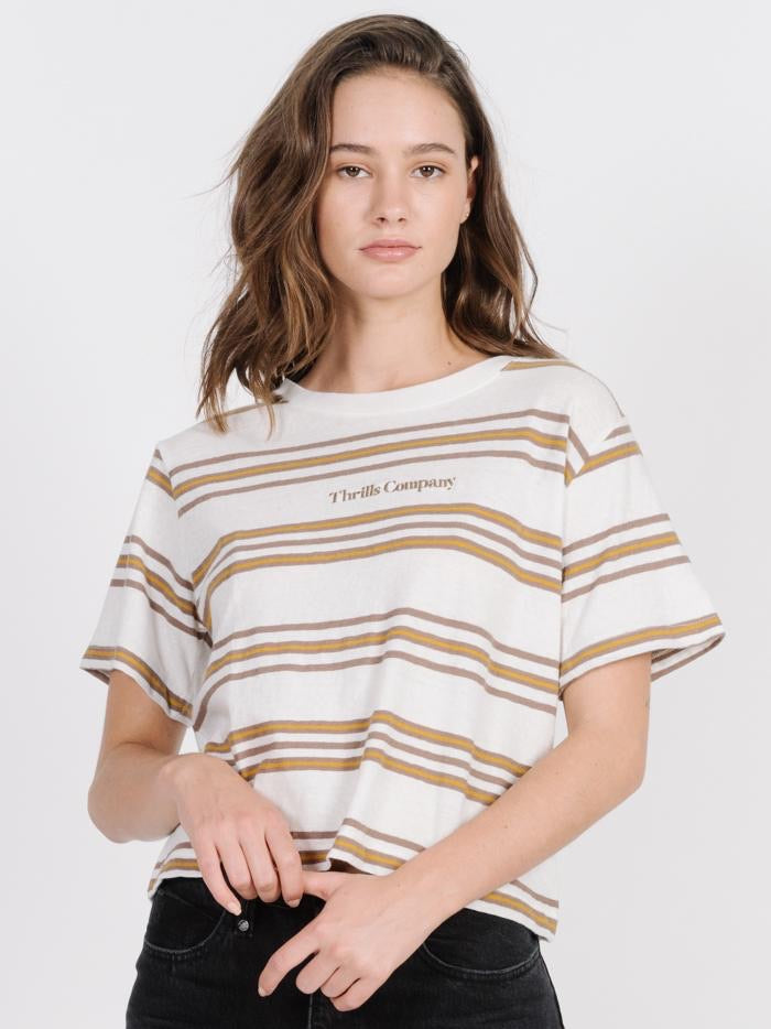 Memory Stripe Crop Tee - Dirty White