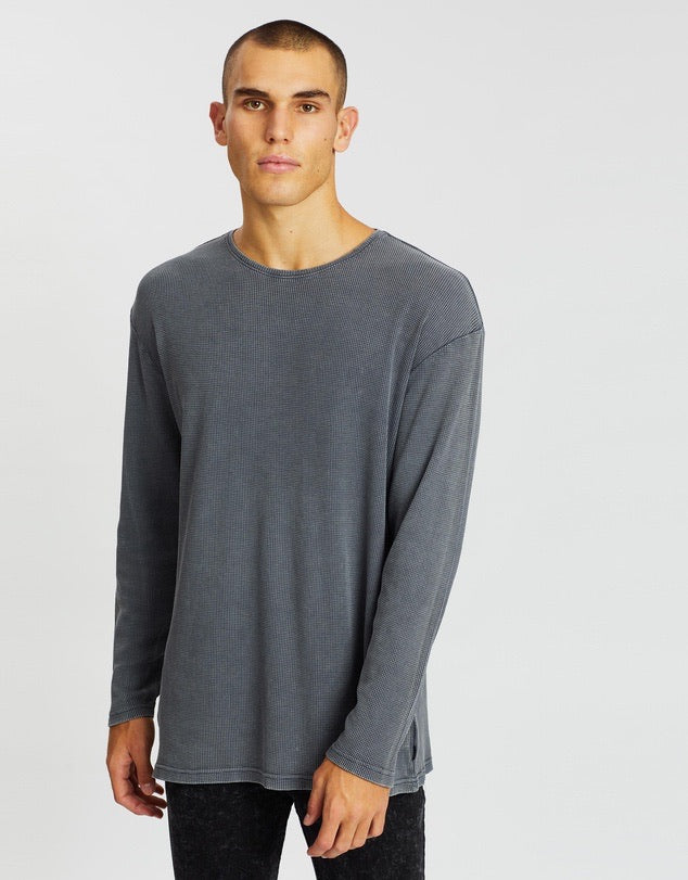 Waffle L/S Tee - Charcoal