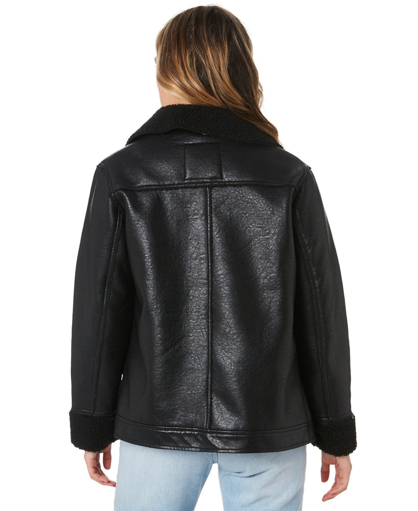 Luxe Aviator Faux Leather Jacket