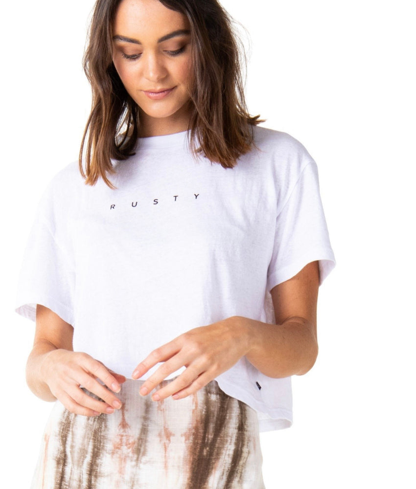 Rusty Essentials Crop Short Sleeve Tee - White
