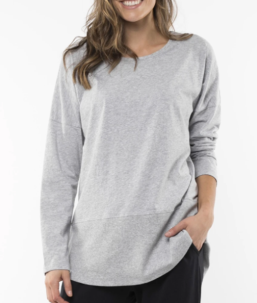 Fundamental Long Sleeve Rib Tee – Grey Marle