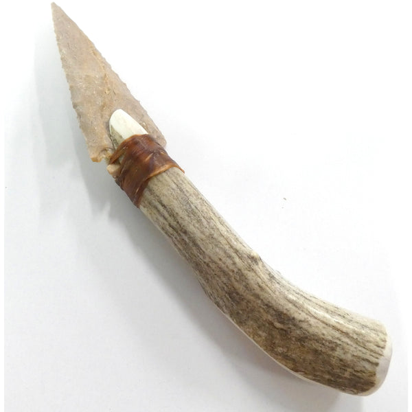 Handmade Flint Arrowhead & Deer Antler Knife